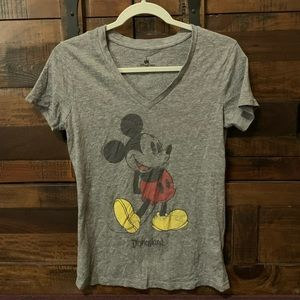Disney Parks V Neck Mickey Mouse Distressed Tee